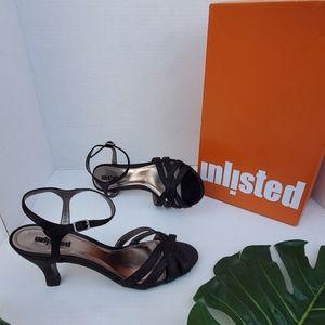 Unlisted Black Embellished Ankle Strap Open-T Heel